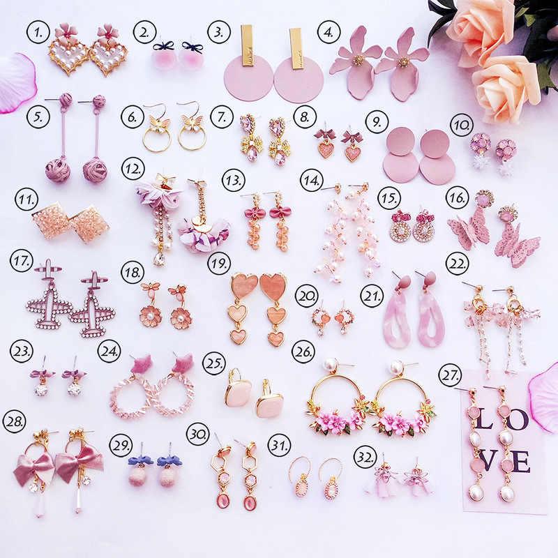 2018 Simple Korean Girl Cute Heart Pink Earrings Princess Bow Drop Earrings Wholesale for Women Fashion Jewelry Accessories