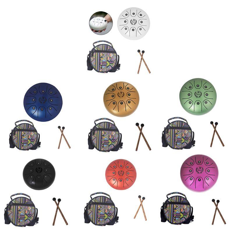 1 Set Mini tambour de langue en acier avec maillet sac 5.5 pouces 8 tons pour méditation Yoga Zen diamètre 14 cm patrie