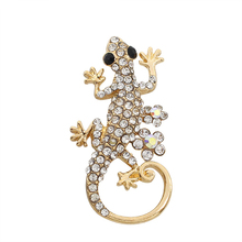 Exquisite Fashion Lizard Brooch Jewelry Alloy Full Rhinestone Female Gold Male And Animal Pin Gift