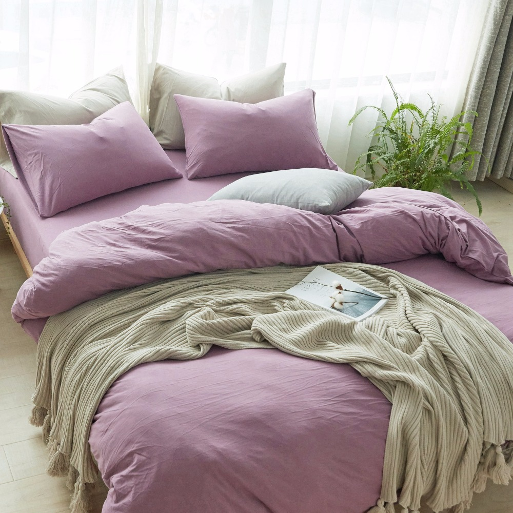 Purple Bed Cover Set Queen Duvet Cover Set Knitted Cotton