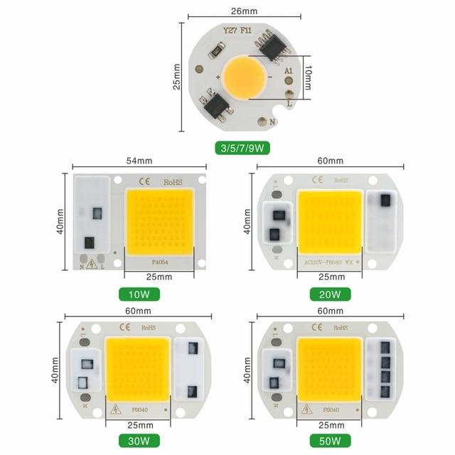 LED COB Chip 10W 20W 30W 50W 220V Smart IC No Need Driver 3W 5W 7W 9W LED Bulb Lamp for Flood Light Spotlight Diy Lighting 1