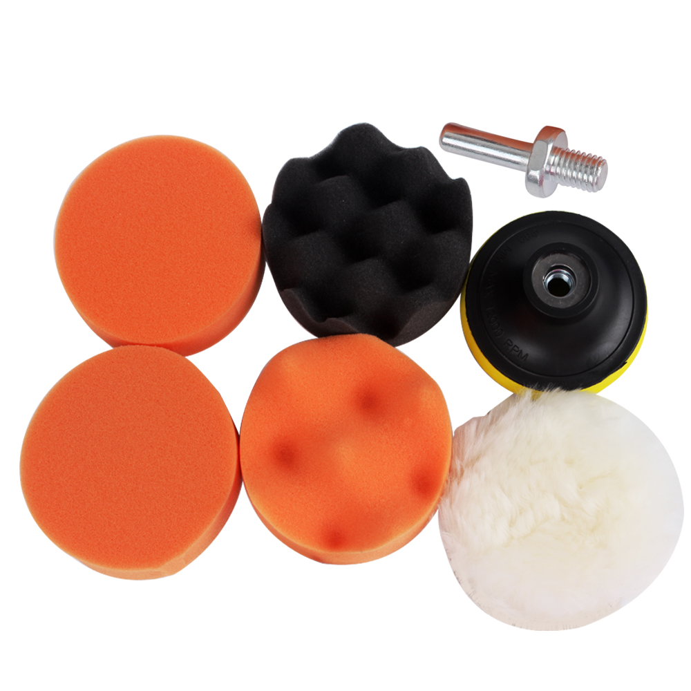 7pcs/set Car Polishing Buffing Pad High Quality M10 Thread Drill Auto Polisher Set Sponge Hot Sale yoga nasal washing pot light yellow red