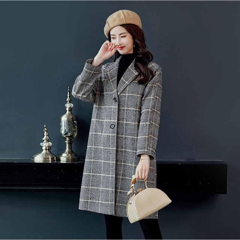 Ladies' jacket Autumn winter clothing New lattice Woolen coat female Leisure elegant women coats Long sleeve Warm wool coat 515