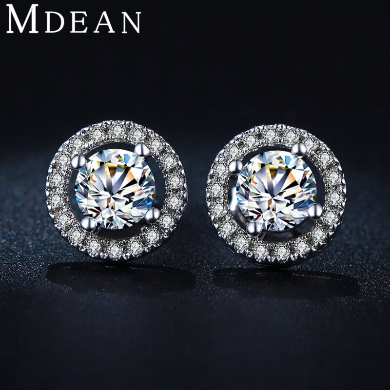 Stud Earrings: MDEAN Stud Earrings for women White Gold Plated CZ diamond Jewelry AAA zircon Round boucle d'oreille Wedding brincos  MSE032