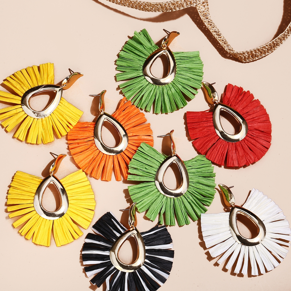 Raffia Earrings Jewelry Oversize Bohemian Flower Wedding-Statement Female Women Big