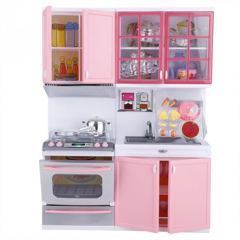 Us 19 4 24 Off Mini Kitchen Set Children Pretend Play Cooking Set Pink Cabinet Stove Learning Educational Interactive Toy For Baby In Kitchen Toys