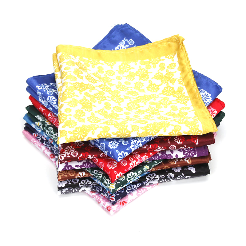 Brand New Men's Handkerchief Classic Flower Print Pocket Square Soft Silk Hankies Wedding Party Business Hanky Chest Towel Gift