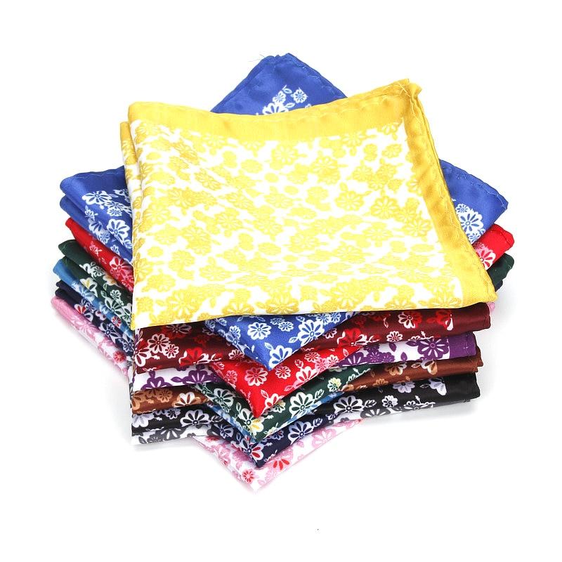 Brand New Men's Handkerchief Classic Flower Print Pocket Square Soft Silk Hankies Wedding Party Business Hanky Chest Towel Gift