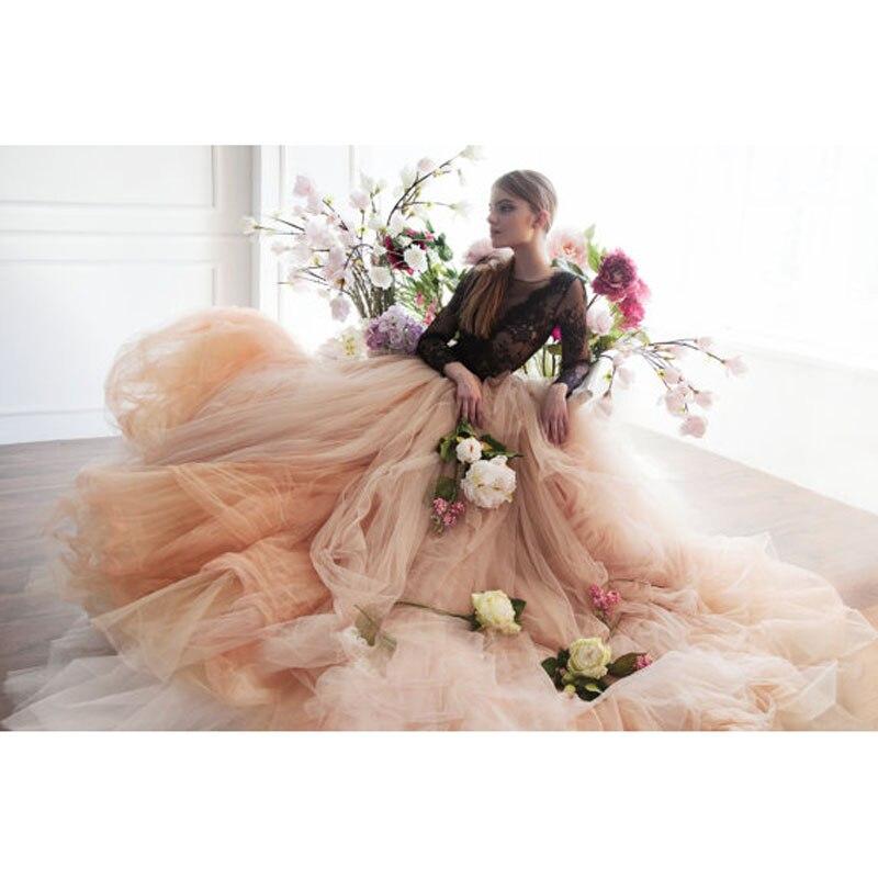 Богемная Свадебная юбка с длинным шлейфом, эффектная большая пышная мягкая длинная юбка из тюля, 2018, от кутюр, элегантные вечерние платья дл