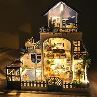 DIY маленький дом Любовь море вилла Деревянные маленькие Кукольный дом с музыкальным движением без крышки Пыли Кукольный домик для девочки п...