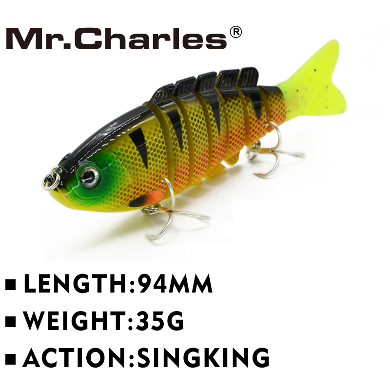 Mr.Charles CMCS 055 თევზაობა Lure 94mm / 35g Singking Quality Professional 7 Segment Swimbait Crankbait Hard Bait