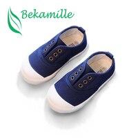 Bekamille çocuk kanvas ayakkabılar bahar sonbahar bebek erkek ayakkabı düz renk yürümeye başlayan kızlar Sneakers kayma çocuk ayakkabı nefes
