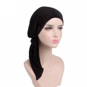 Image 3 - Muzułmanie kobiety wzburzyć Turban szalik bawełna Chemo czapki chemioterapia Bonnet czapki chustka na głowę chusta na głowę rak utrata włosów