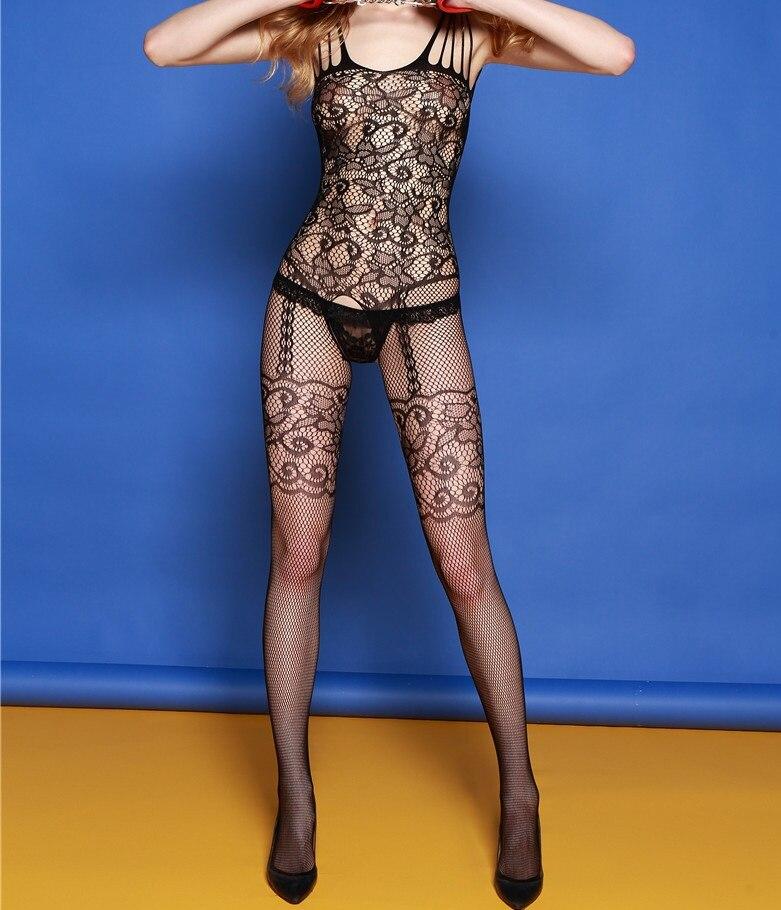 Dámské krajkové slipy Sexy bodystocking Bodysuits Dámská dutá perspektiva intimuje síťované punčochy černé plné pásky
