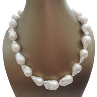 100% NATURE FRESHWATER BIG Baroque PEARL NECKLACE good quality 925 SILVER HOOK