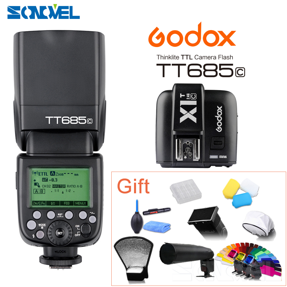Godox TT685C +X1C TTL Flash & Trigger Set Wireless 2.4G Speedlite Transmitter for Canon EOS 70D 60D 5D2 5D3 6D 7D 650D 700D+Gift стоимость