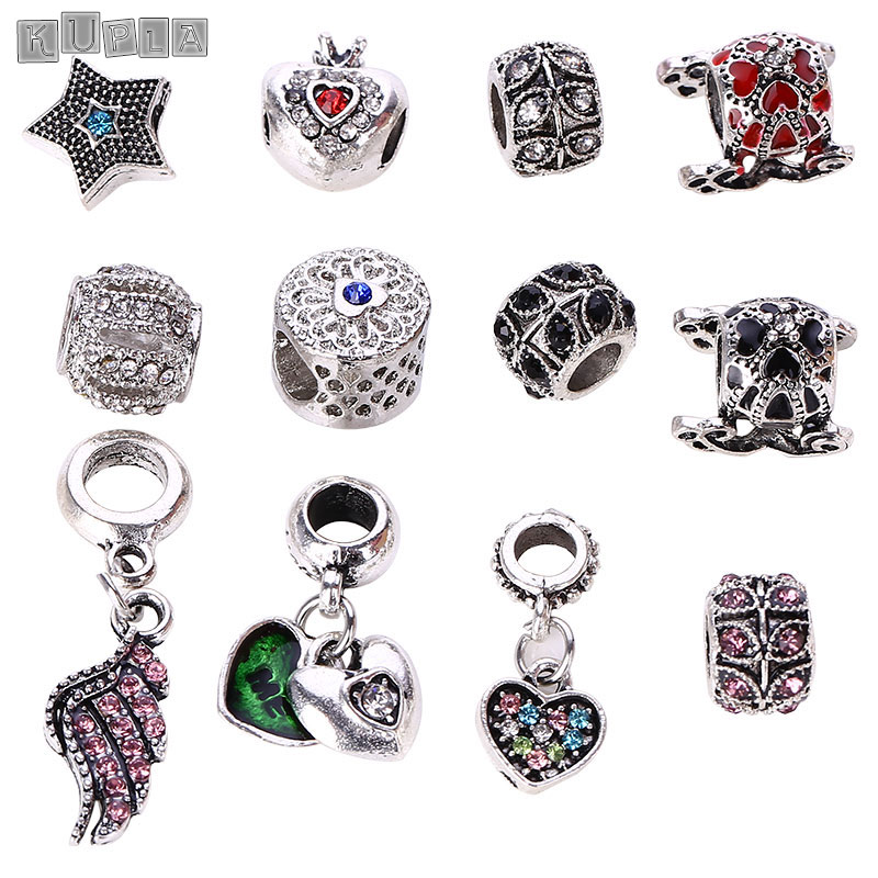 12pcs/lot Antique Silver Charm Beads fit Pandora Charms Diy Metal High Quality European Beads & Jewelry Making B5205