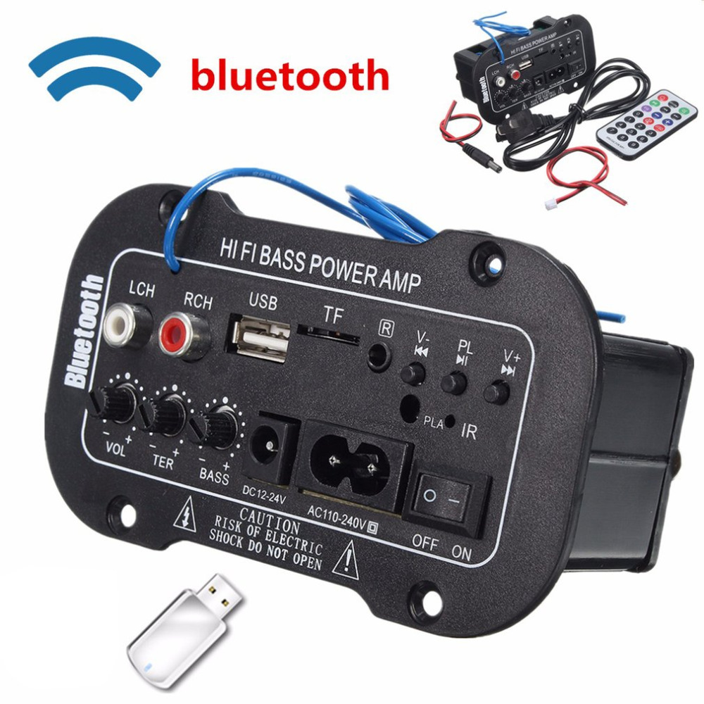 Multi-Functional Car Bluetooth Amplifier HiFi Bass Power AMP Stereo Digital Amplifier USB TF Remote For Car Home Accessories ...