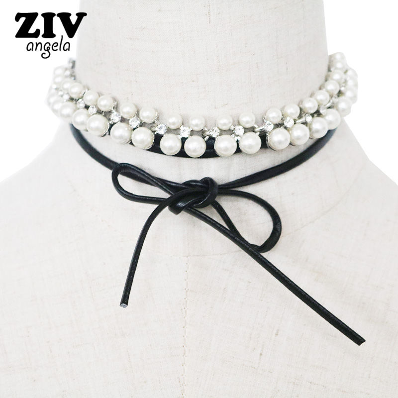 2017 New Hot Fashion Women Cloth Accessories Simulated Pearl Necklace Pendant Bowknot crystal Long Necklace SKU5722