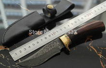 Handmade forged Damascus Steel  hunting knife fixed knife  ebony handle first layer packing