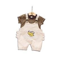 Boy set 2019 Summer child striped Short sleeve T-shirt baby toddler cotton strap Shorts two-piece set цена