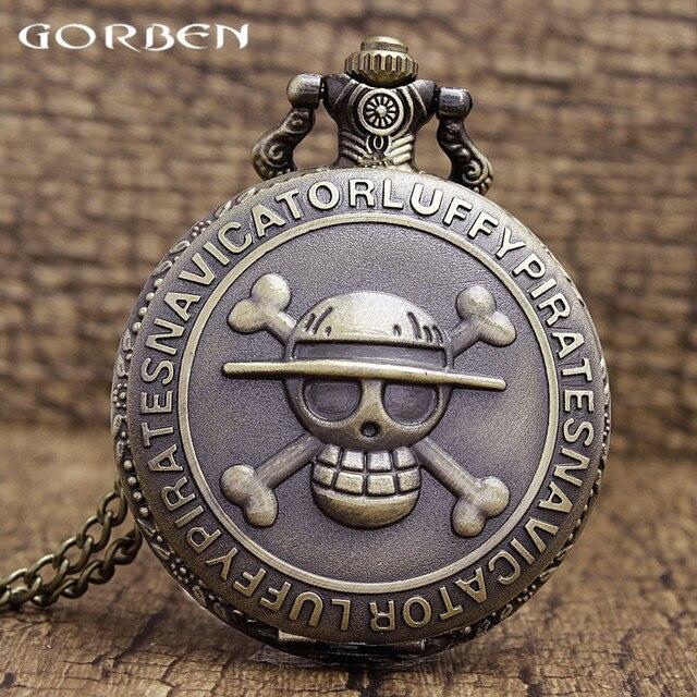 Antique Bronze Pirate Skull One Piece Quartz Retro Pocket Necklace Watch P28 rel