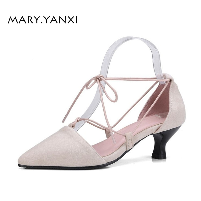f8951a169dd Spring Autumn Women Pumps Plus Size Shoes Mary Janes Solid Lace-up  Cross-tied High Heels Pointed Toe Fashion Casual Shallow