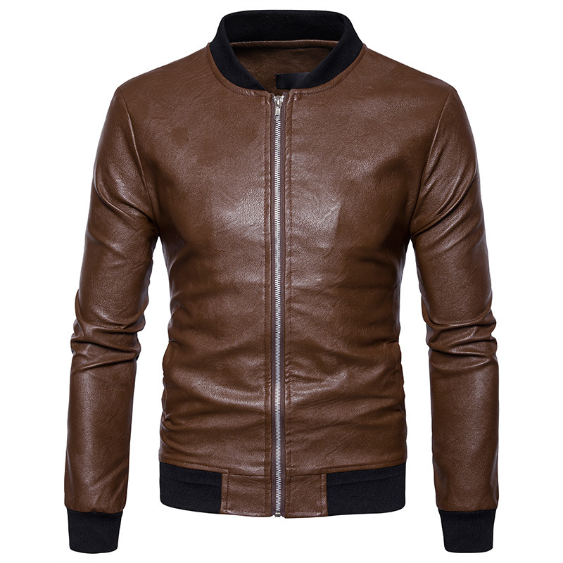 High quality creative autumn winter clothing mens soft knit collar leather mens jacket leather cuff hem spliced