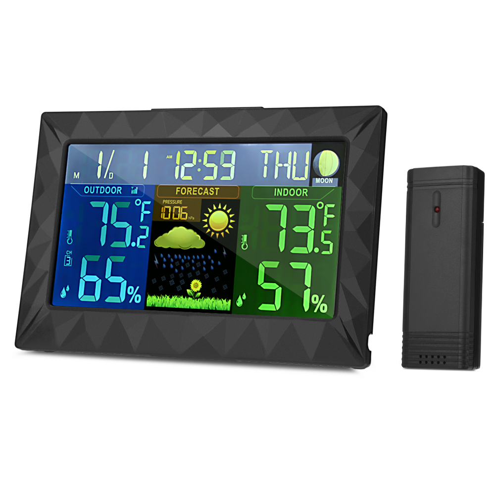 Wireless Color Weather Station In/Outdoor Forecast Temperature Humidity Alarm Clock Snooze Thermometer Hygrometer