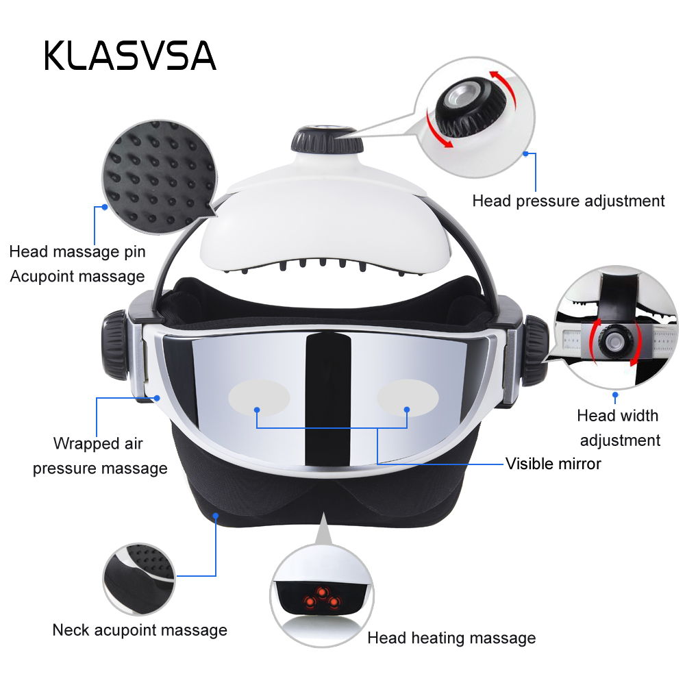 Image 4 - KLASVSA Electric Head Neck Massager Far Infrared Heating Vibration Eye Mask Massage Air Pressure Muscle Stimulator Health Care-in Massage & Relaxation from Beauty & Health