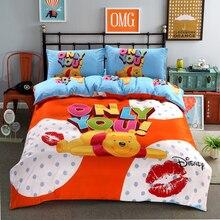 Juego de funda de edredón de Winnie de Disney, ropa de cama de tamaño individual, para niños, decoración de dormitorio, 3 o 4 piezas