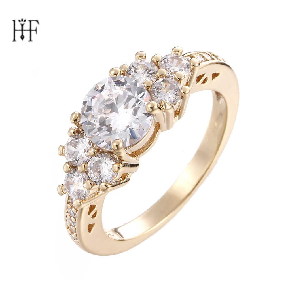 למעלה איכות פרחי זהב/כסף צבע חתונה אצבע קריסטל טבעת מותג תכשיטי עבור נשים anillos mujer bague femme argent 925