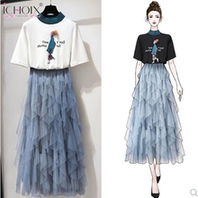 ICHOIX 2019 Summer 2 Pieces Sets Women Elegant a Line Mesh Long Skirt Two Casual Piece Outfits 2xl Plus Size