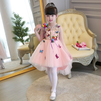 High quality girls dress new summer children puff princess dress dress children's clothing girl dress summer pink
