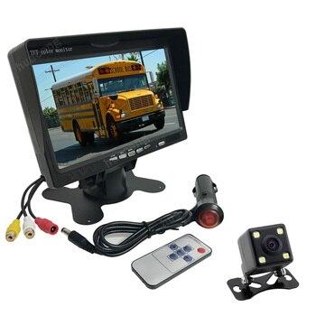 7 inch TFT LCD Color Monitor 4 LED Night Vision Waterproof Reversing Backup Rear View HD Camera  Car Automobile Parking Kit