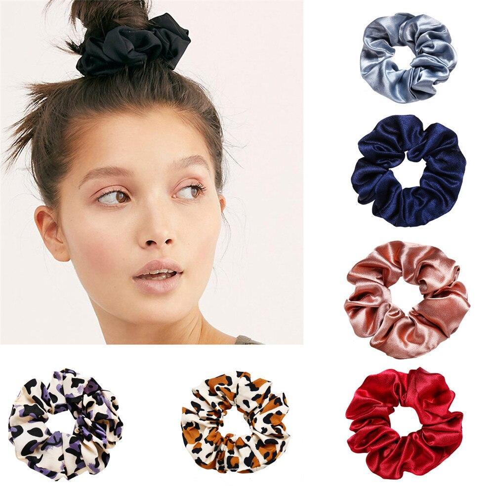 Hair-Ring Headwear Boho Girl Women Ribbon for Fashion Scrunchies Horsetail Tie Solid