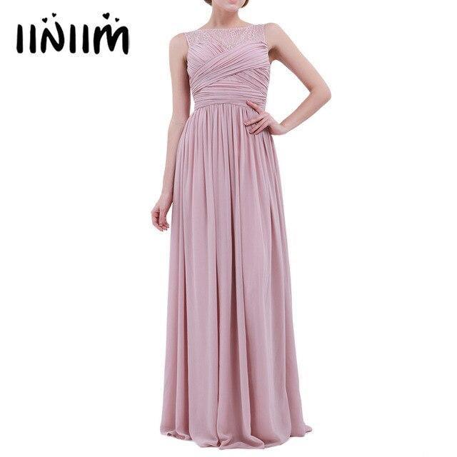 187bcb4189 Mujeres señoras gasa encaje tutú elegante vestido largo de noche vestido de  graduación Primera Comunión vestido