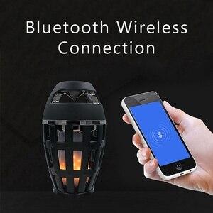 Image 2 - 2In1 flamme atmosphère lampe lumière Bluetooth haut parleur Portable sans fil haut parleur stéréo avec ampoule de musique en plein air Camping Woofer