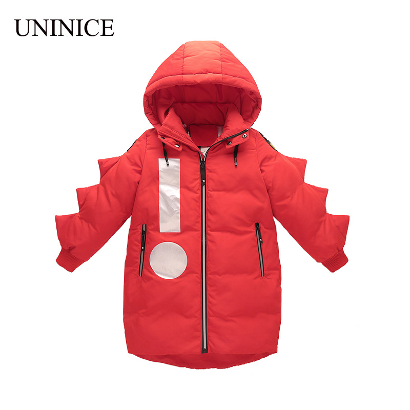 UNINICE 2017 Warm Down Jacket White Duck Feather Long Term Winter Jacket For Boy Big Fur Collar Winter Zipper Coat Children Down top quality white duck down feather filler bed mat 100