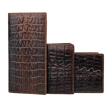 2019 New Genuine Leather Cowhide Dark/Black Crocodile Pattern Men Short Wallet Purse Card Holder Coin Pocket Male Wallets S071