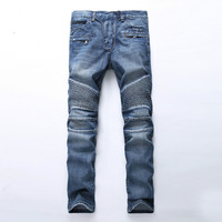 Men's slim fit classic blue biker jeans for moto Casual plus size denim cargo pants Fashion ripped jeans for man