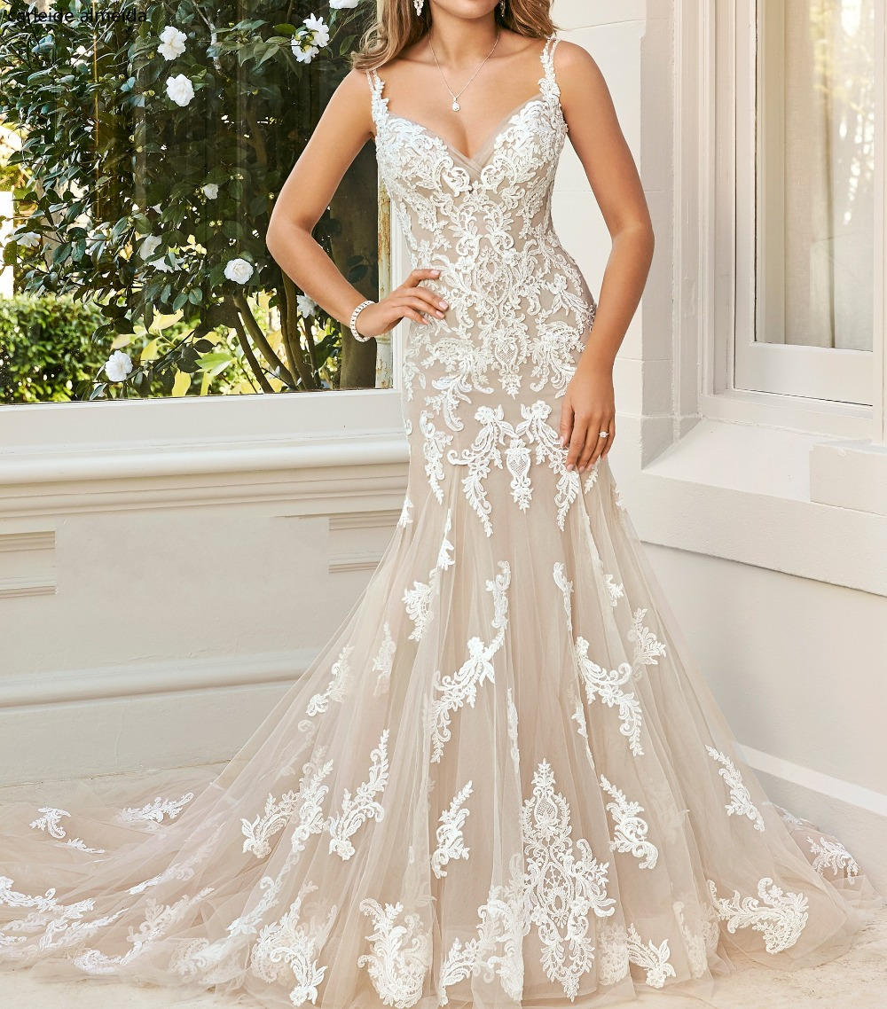 Spaghetti Strap Lace Mermaid Wedding Gowns: Vestido De Novia Spaghetti Straps Mermaid Wedding Dresses