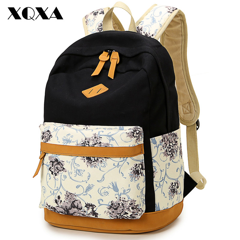 XQXA Brand Quality Floral Canvas Bag Backpack School for Teenager Girl Laptop Bag Printing Backpack Women