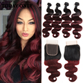Ombre Peruvian Virgin Hair Body Wave with Closure 1b/99j 10A Burgundy Peruvian Body Wave with Closure 4 Bundles with Closure