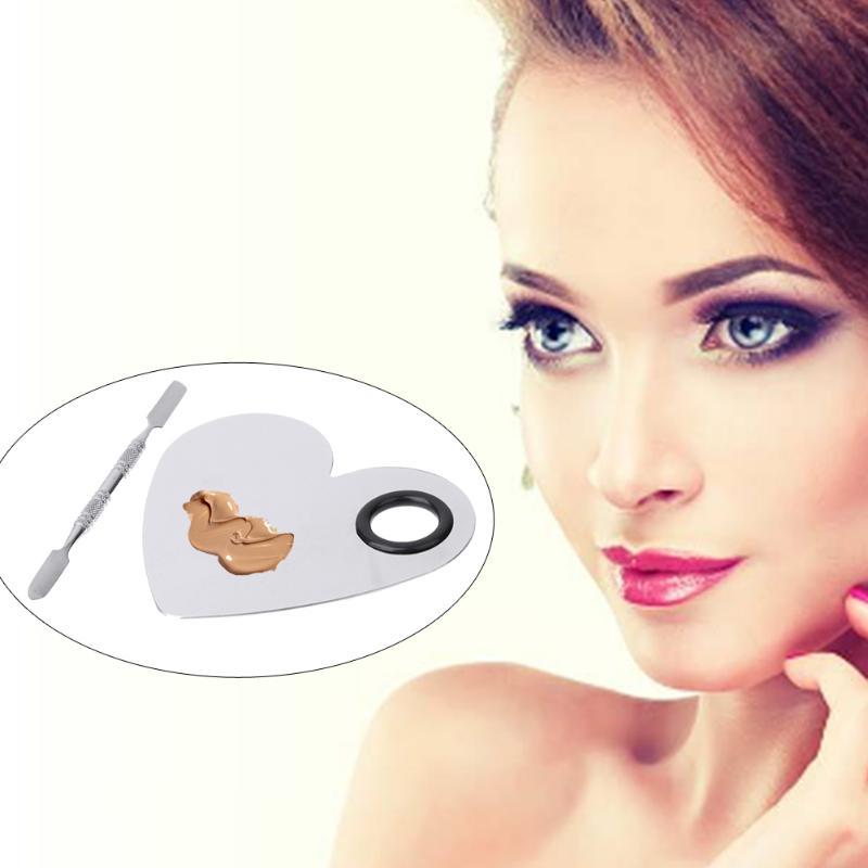 Pro Stainless Steel Colour Makeup Palette Heart Shape Black Circle Mixed Color Cream Palette Plate Knife Beauty Accessories Pakistan