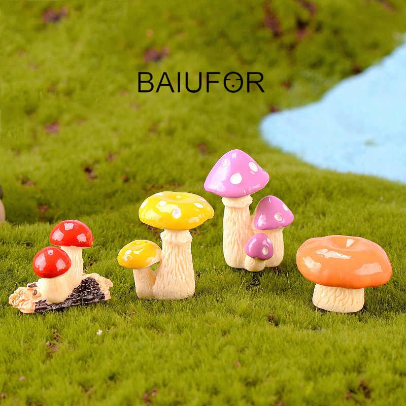 BAIUFOR Simulado de Miniaturas de Resina Dos Desenhos Animados Cogumelo Decoração Do Jardim de Fadas Terrário Figurinhas Acessórios de casa de Boneca Brinquedo Das Crianças