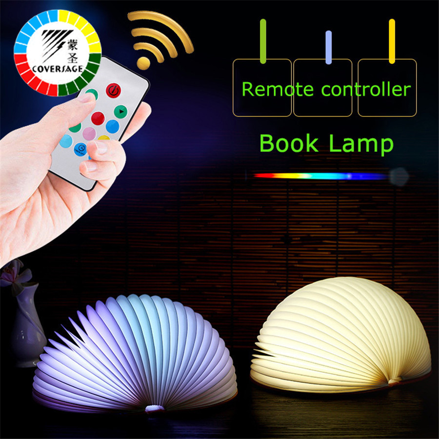 Coversage Led Night Light Table Desk Decorative Novel Colorful Book Bedroom Children Kids Baby Sleeping USB Rechargeable Lamp ball led night light projector usb rechargeable atmosphere desk table lamp for children baby kids gift bedside bedroom sleeping