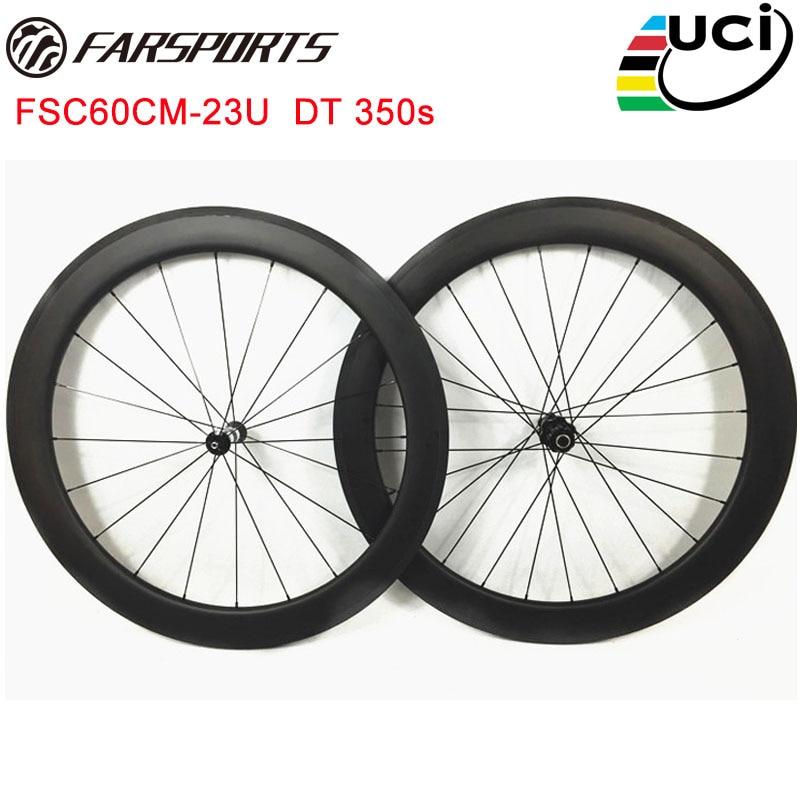 Full carbon roues Farsports 60mm profondeur U forme pneu route roues avec route moyeux de Suisse et Sapim aero rayons