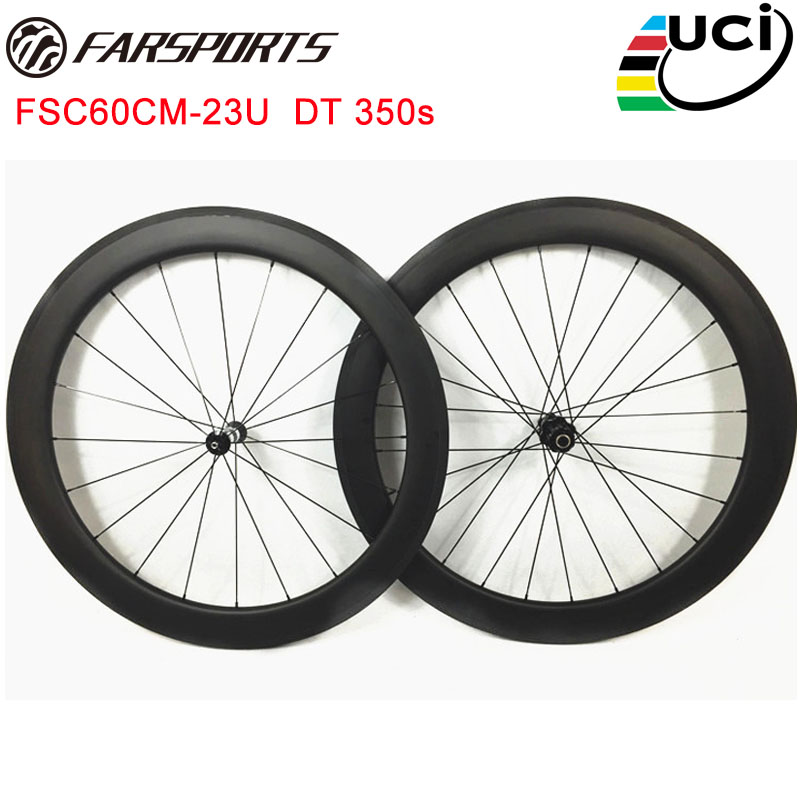 Full carbon wheelset Farsports 60mm depth U shape clincher road wheels with road hubs from Swiss and Sapim aero spokes цена