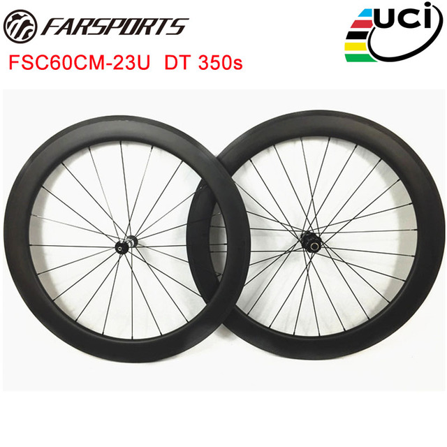 516e26a4eb0 Full carbon wheelset Farsports 60mm depth U shape clincher road wheels with road  hubs from Swiss and Sapim aero spokes